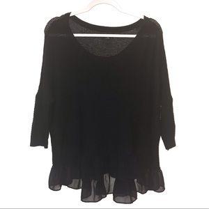 American Eagle Black Cotton Peplum sweater